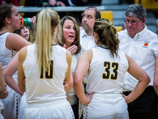 Monroe Central's Leigh Ann Barga coaches against Yorktown