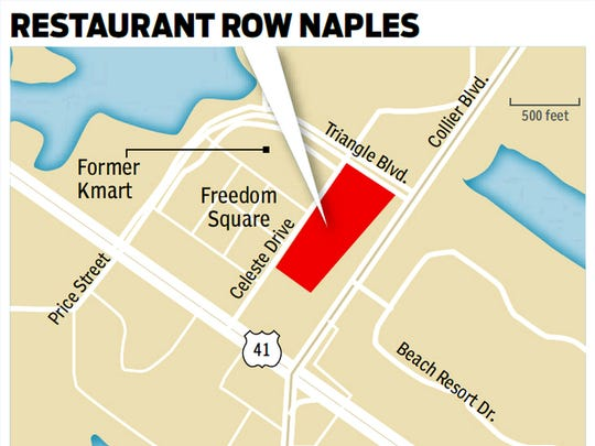 Restaurant Row Naples is a 7-acre development with at least seven restaurants planned for the northwest corner of U.S. 41 East and Collier Boulevard.