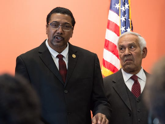 Linwood Jackson, president of Delaware NAACP, speaks during a press conference concerning ACLU Delaware's lawsuit challenging the state's allocation of resources to schools.