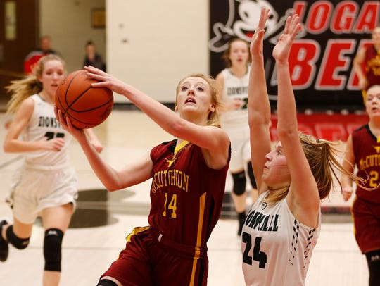 McCutcheon's Olivia Dowden drives to the basket in last year's sectional against eventual champion Zionsville.