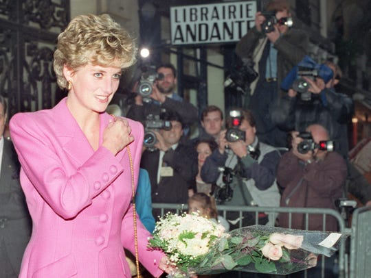 Princess Diana in November 1992 leaving the first anti-AIDS