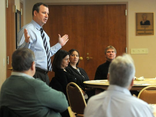 Kenny McDonald, chief economic officer for Columbus 2020, a regional economic development organization, which includes Marion County, spoke Wednesday to a group of local business and public leaders about the region's goals and progress in economic development.
