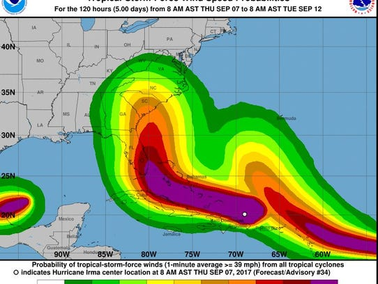 The wind speed forecast track as of Thursday at 2 p.m.