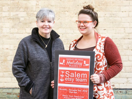 Sandy Kamp, left, and Kendra Pettry, right, with the Salem Etsy Team at Holding Court on Tuesday, Nov. 29, 2016.