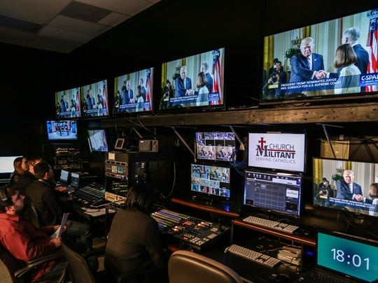 Editors waits to hear President Donald J. Trump  Supreme Court Nominee announcement before going on a live TV broadcast show on Tuesday, Jan. 31, 2017, at the Church Militant studios in Ferndale.
