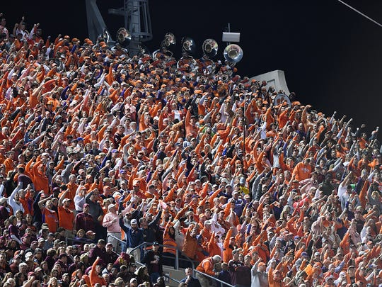Clemson fans cheer after a Clemson TD against Virginia Tech during the 2nd quarter on Saturday, September 30, 2017 at Lane Stadium in Blacksburg, VA.