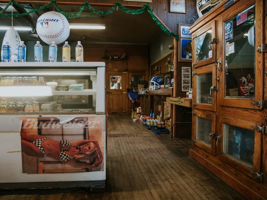 Antique coolers are still in use inside the Phoenix Store, built in 1873.
