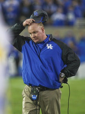 Kentucky head coach Mark Stoops couldn't find an answer in stopping Mississippi State's Dak Prescott and their offense as the Wildcats lost 45-31at Commonwealth Stadium on Oct. 25.