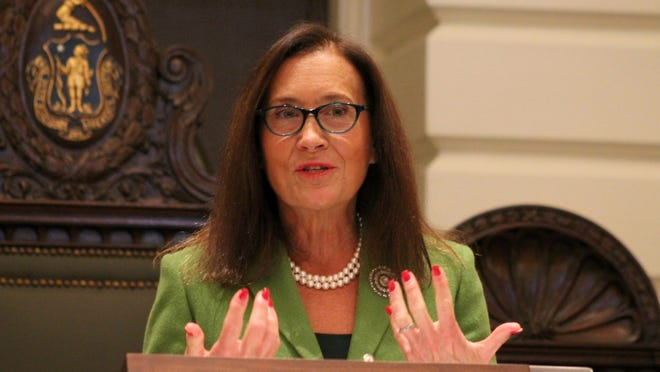 State Treasurer Deborah Goldberg giving a speech in the Senate Chamber in a 2019 file photo.