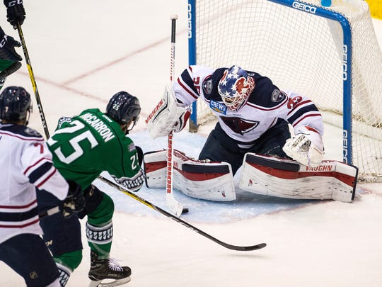South Carolina Stingrays goalie Parker Milner makes a save during Game 2 of South Division Finals in the Kelly Cup Playoffs at Germain Arena in Fort Myers, Fla., on Saturday, April 29, 2017.