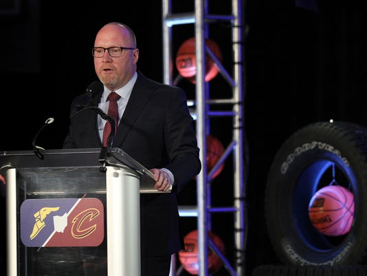 Cleveland Cavaliers NBA basketball team general manager David Griffin speaks at a press conference announcing a new partnership with Goodyear Tires in Cleveland, Ohio, Monday, May 15, 2017. Linked by geography and superstar LeBron James, the defending NBA champions announced a multiyear corporate sponsorship deal with Goodyear that includes the Cavs wearing the tire giant's winged-foot logo on the fronts of their jerseys starting next season.  (Joshua Gunter/Cleveland.com via AP)