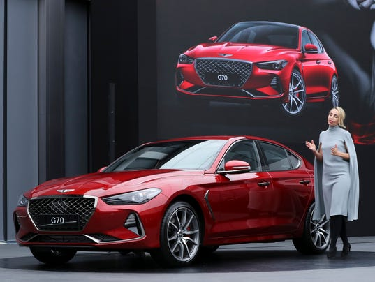 2018 hyundai g70. Delighful 2018 Bozhena Lalova A Head Of Genesis Color And Trim Hyundai Motor Co  Speaks To The Media Next New Sedan G70 During Its Unveiling Ceremony In  Throughout 2018 Hyundai G70