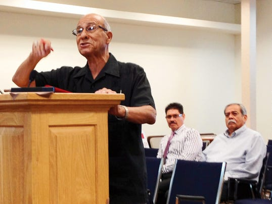 Silver City resident and former WNMU professor Art Martinez discusses the redistricting of Grant County during Thursday's County Commission meeting. Randal Seyler - Sun-News