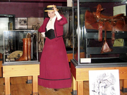 """Living history re-enactor Andrea Severson portrays a Wild West character at the 2014 """"Night at The Museum."""" This year's event will begin at 6:30 p.m. Thursday."""