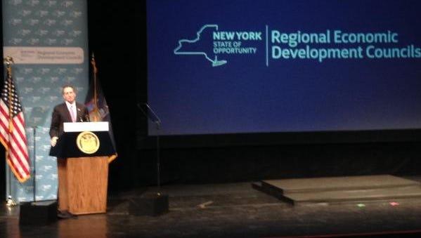 Lt. Gov. Robert Duffy speaks at the regional council presentation Thursday in Albany.