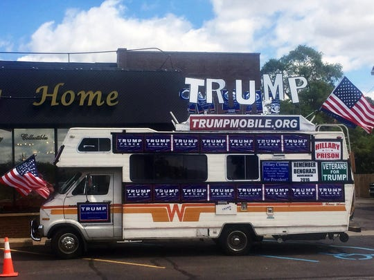 The Trump Mobile joined the Trump Unity Bridge at Saturday's Woodward Dream Cruise.