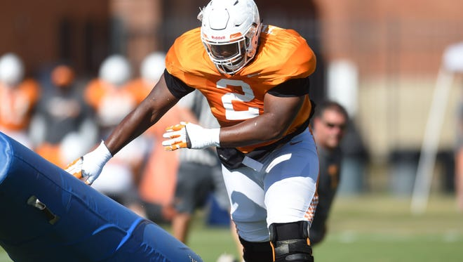 Vols defensive lineman Shy Tuttle (2) participates in a drill during practice Aug. 24, 2017.