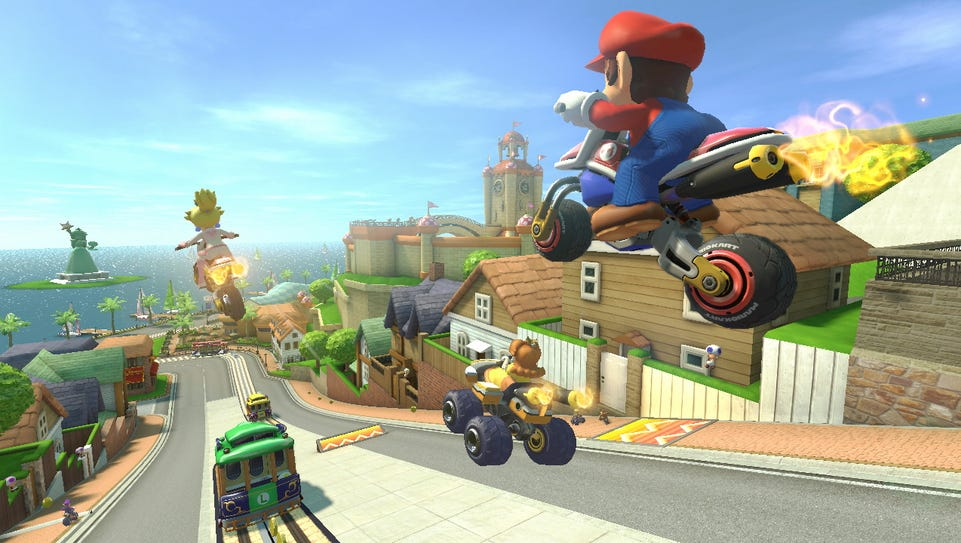 A screenshot from the video game 'Mario Kart 8.'