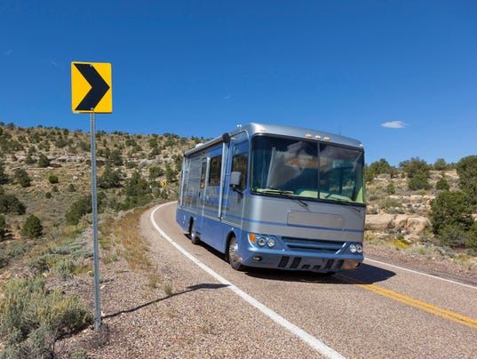 Driving motorhome RV through Bryce Canyon National Park USA
