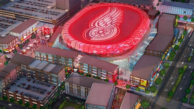 An artist's rendering of the new Red Wings Arena, north of downtown.