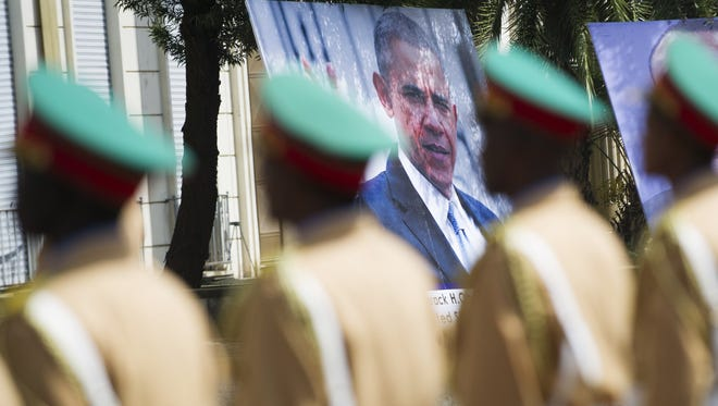 An Ethiopian honour guard stands at attention during a welcome ceremony for President Obama at the National Palace in Addis Ababa on July 27, 2015.