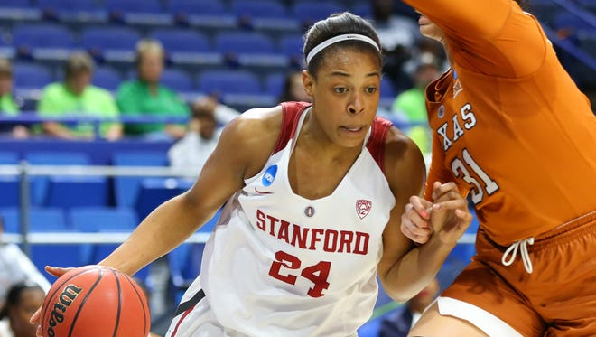 Stanford forward Erica McCall (24) was selected 17th overall by the Fever.