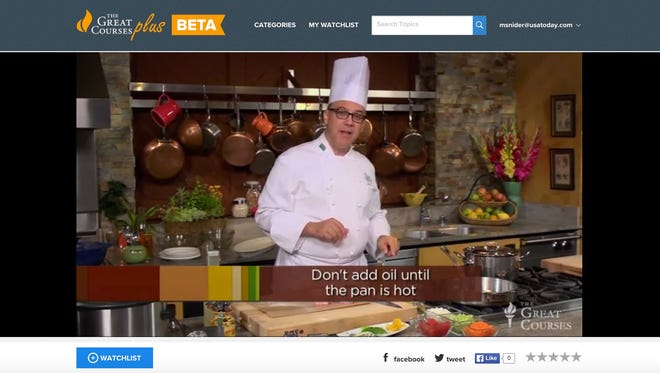 Culinary Institute of America chef-instructor Bill Briwa shown in 'The Everyday Gourmet' course, one of offerings in The Great Courses Plus catalog on the Web.