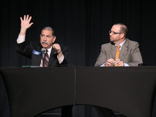 County Commissioner Precinct 2 David Stout, right,