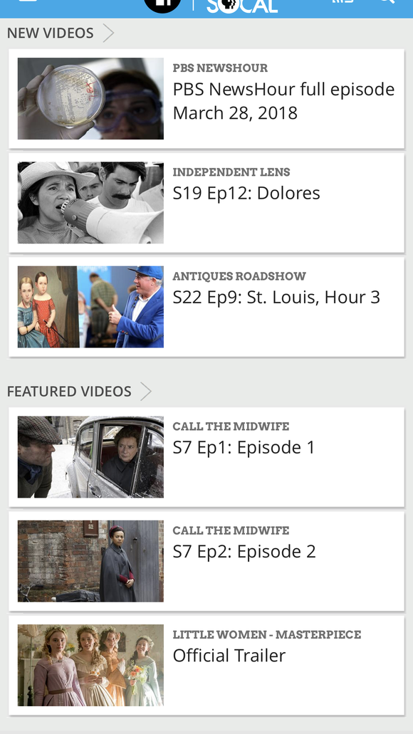 The PBS Video app offers access to most PBS programming