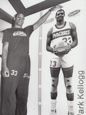 Life-size posters of Indiana Pacers star Clark Kellogg, compliments of Seifert's Potato Chips, were passed out to fans Jan. 3, 1986.