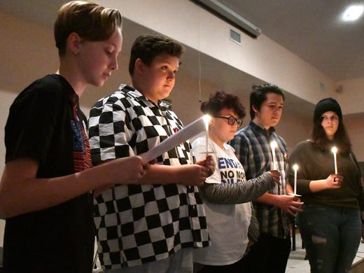 A group of teens read the names and brief personality