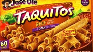 The recalled Jose Ole Taquitos Beef Carne De Res in Corn Tortillas Crispy and Crunchy are in 60-ounce plastic bags.