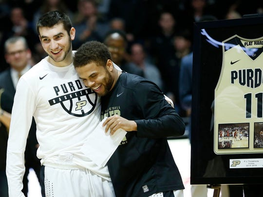Seniors Dakota Mathias and P.J. Thompson of Purdue