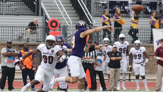 Missouri State's Colby Isbell pressures Western Illinois University's Sean McGuire during their game Saturday, Oct. 14, 2017 in Macomb, Illinois.