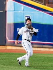 Former St. Cloud State All-American Jordan Smith sets up to catch a fly ball for the Akron RubberDucks of the Class AA Eastern League. Smith is playing all three outfield positions this season for Akron.