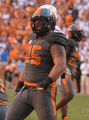 Tennessee defensive lineman Danny O'Brien (95) celebrates during the second half in the game against the Florida Gators at Neyland Stadium on Saturday, Sept. 24, 2016.