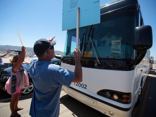 migrant bus blocked