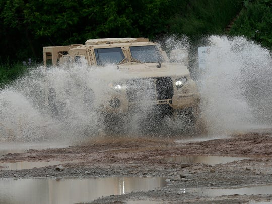 Oshkosh Corporation's JLTV maneuvers through the test