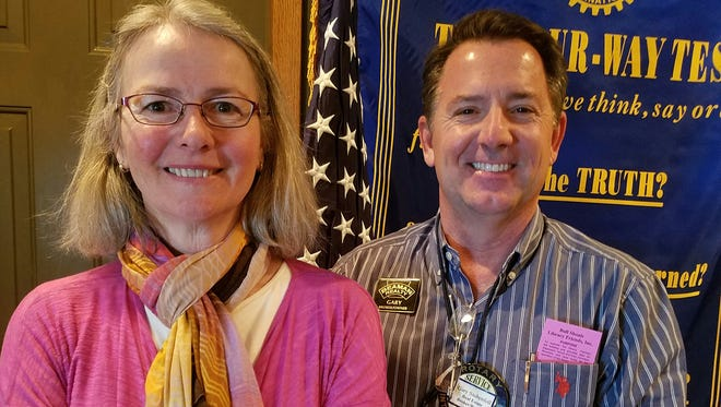 The Bull Shoals-Lakeview Rotary Club's Rotarian of the Day, Gary Stubenfoll and guest Alice Hill from the Bull Shoals Library. Hill spoke about some exciting new programs being offered at the library, new projects in the works, and would like to welcome everyone to come by and visit the Library.