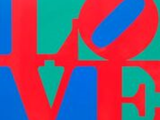 """""""Book of Love, Red/Green/Blue"""" by Robert Indiana; fabricated metal, powder coat and silkscreen colors  Series of V.    26 by 26 by 2 ibnches  ©1996, courtesy of American Image Art"""