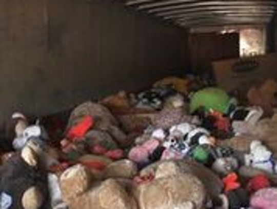 This photo shows a portion of the 65,000 stuffed animals