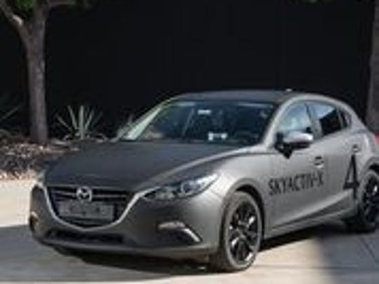 A Mazda3 that the automaker has outfitted with its