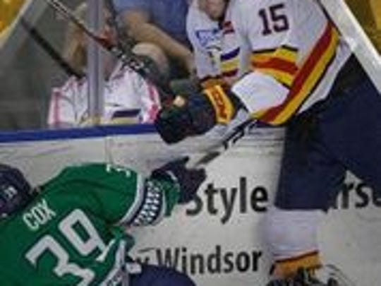Florida's Joe Cox takes a spill but he did score the Everblades' first goal in Game 6 of the Kelly Cup Finals.