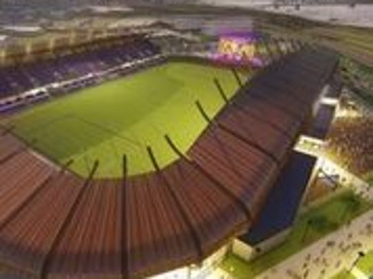 A rendering of Louisville City FC's soccer stadium created by architecture firm HOK.