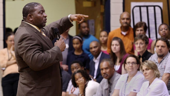 Spurgeon Banyard speaks to Carencro Middle School parents in October 2012, shortly after arriving at the school. A former teacher at the school has filed a civil lawsuit against Banyard, alleging harassment.