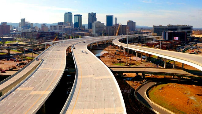 The new Interstate 59/20 winds through Birmingham, Ala., on Thursday.