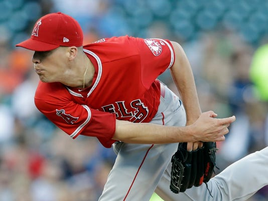 Los Angeles Angels starting pitcher Alex Meyer throws during the fourth inning of a baseball game against the Detroit Tigers, Wednesday, June 7, 2017, in Detroit. (AP Photo/Carlos Osorio)
