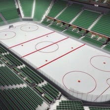 An artist's rendition of what a new Seattle arena would look like, configured for hockey.