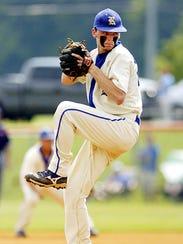 Decatur-Riverside's Stephen Gant, seen here pitching