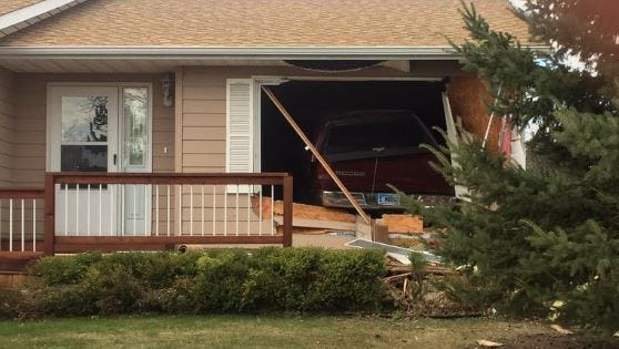 A truck crashed into a home at 69th Street and Cliff Avenue on Sunday.